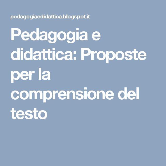 Pedagogia e didattica: Proposte per la comprensione del testo