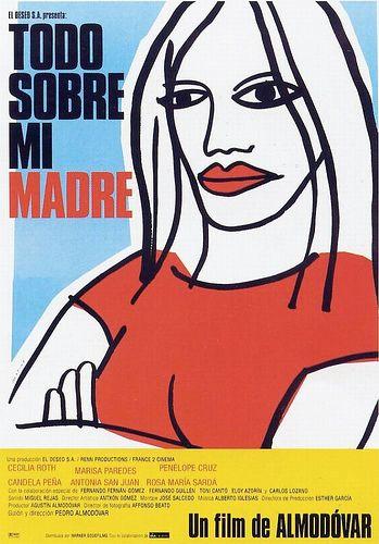 Todo sobre mi madre. Una madre soltera ve cómo su joven hijo muere el día de su 17 cumpleaños mientras corre para conseguir el autógrafo de su actriz favorita. Decide entonces viajar a Barcelona en busca de su padre, un travestido llamado Lola, que desconocía tener un hijo. Primero encuentra a su amigo Agrado, otro travesti, y a través de él conoce a Rosa, una monja de El Salvador, y por casualidad termina convirtiéndose en la asistente de Huma Rojo, la actriz que admiraba su hijo.