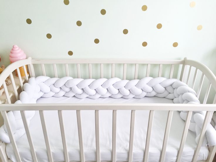 Double Braided white Crib Bumper -Knot Cushion, Knot Pillow, Bolster Pillow, Decorative Pillow, Cushion, Crib Bedding, Baby Shower, Baby by Kikakids on Etsy https://www.etsy.com/listing/551008095/double-braided-white-crib-bumper-knot