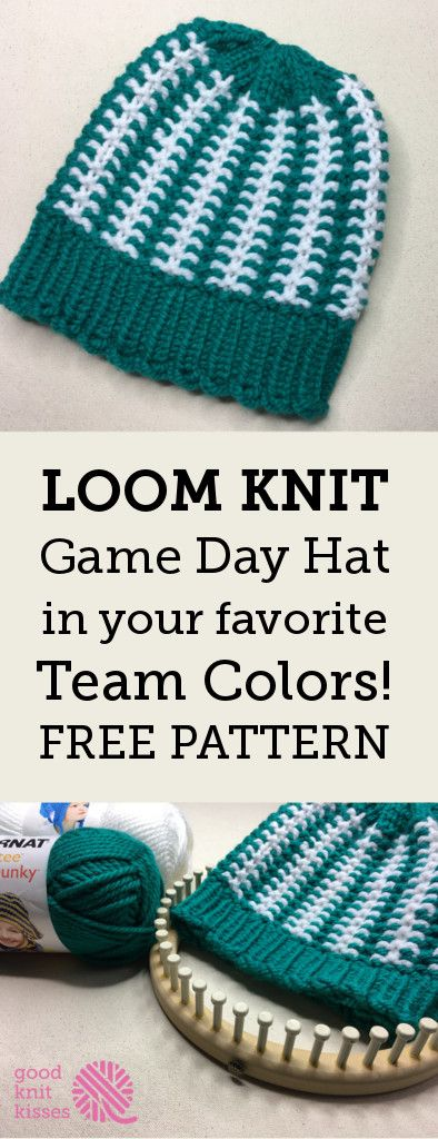 Get ready for game day with the Stadium Stripes Hat. Pick your team's colors and may the best hat win!  http://www.goodknitkisses.com/stadium-stripes-hat/ #goodknitkisses #loomknitting #loomknit #knithat #teamcolors