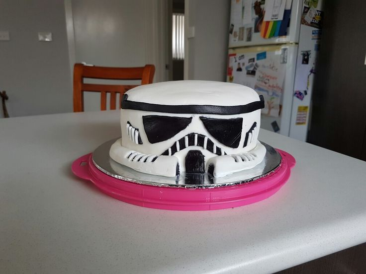 Stormtrooper.  First layer rich chocolate cake, top layer red velvet, buttercream filling and fondant decoration.
