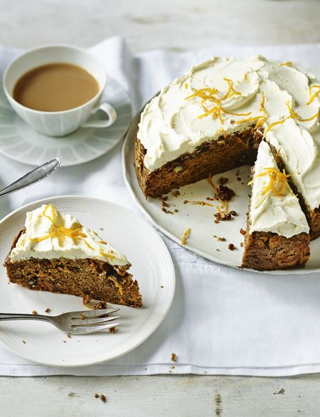 Sugar-free spiced carrot cake with orange cream cheese frosting.