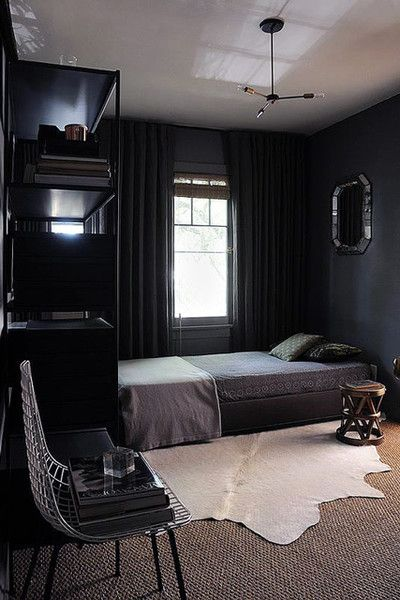 Dark contrast in 2019 lonny homes cozy small bedrooms - Small apartment ideas for guys ...