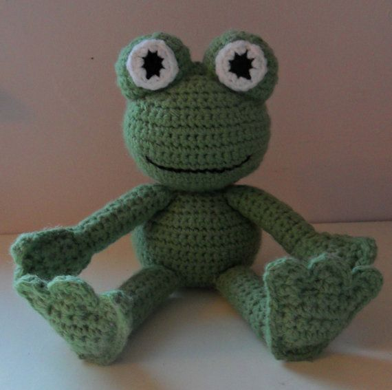 Hand Crocheted Frog by HappyGeekCreations on Etsy, £13.50