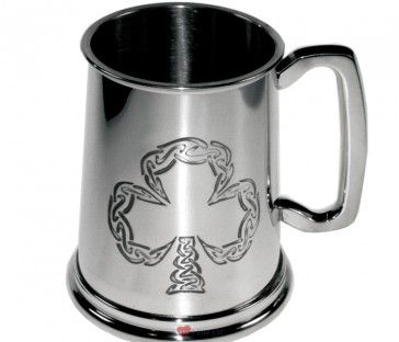 1 Pint Shamrock Tankard This pewter, pint tankard is embossed with an Irish shamrock design. Features a square handle. Height: 115mm Base Diameter: 115mm  http://iluvscotland.co.uk/occasions/saint-patricks-day  £37.50