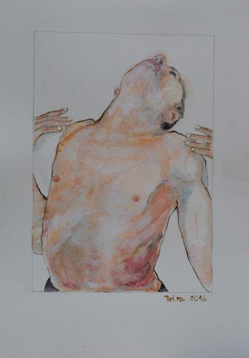 Tanec v srdci, Tanečník – akvarel + tuš, 26 x 18, 2016