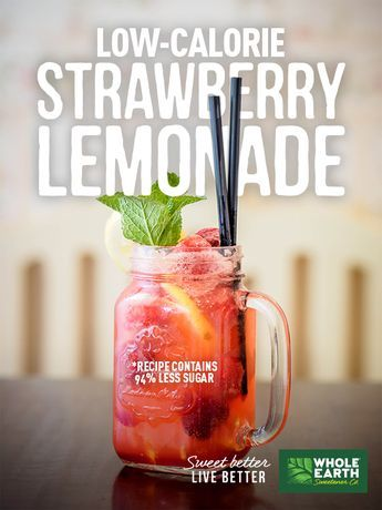 On a hot summer day, try our homemade low-calorie Strawberry Lemonade to beat the heat. This tasty and refreshing drink is made with lemon juice, fresh strawberries and zero-calorie Nature Sweet. Enjoy this sweet drink while reducing calorie and sugar intake by over 90%. Cheers!