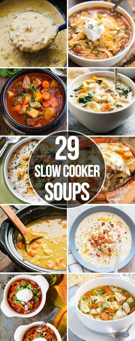 29 Slow Cooker Soups that are perfect for an easy comforting meal, ready with out a lot of prep, great for a cold day!