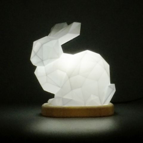 Download on https://cults3d.com #3Dprinting #Impression3D low poly stanford bunny lamp 3D model, Toolmoon