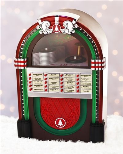 Sing along to your favorite Christmas tunes with our  Mr. Christmas Animated Jukebox. Friends and family can choose their favorite from a list of 18 songs performed by the original artist, including Bing Crosby, Eartha Kitt, and the Temptations.