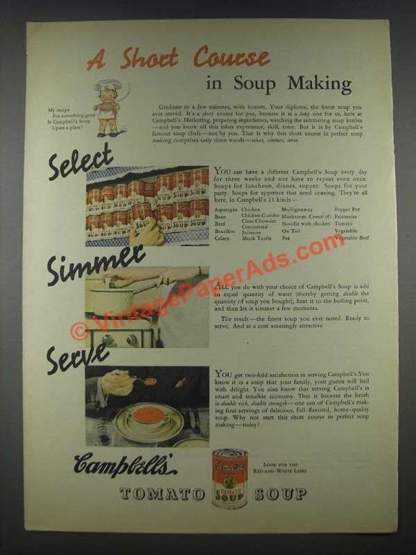 1935 Campbell's Tomato Soup Ad - A Short Course