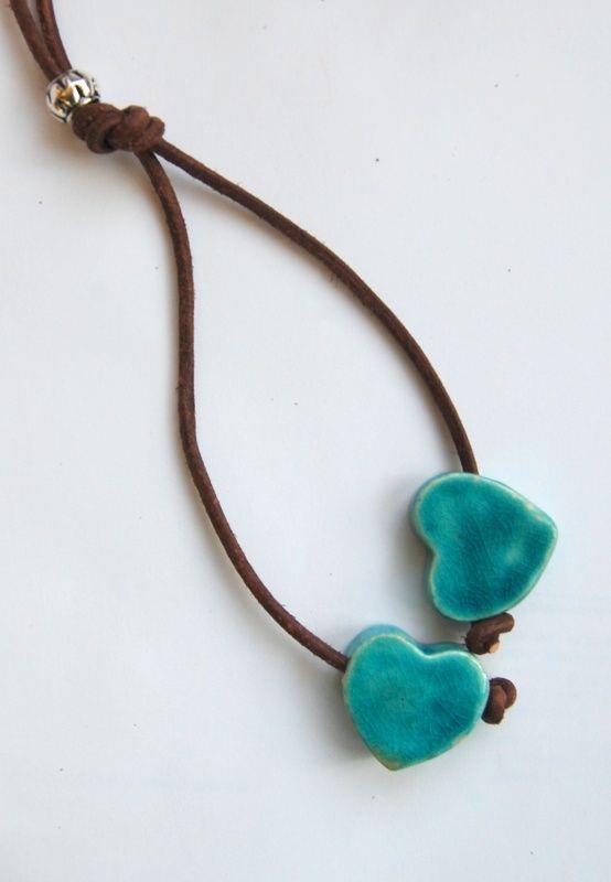 ketting keramiek hart turquoise