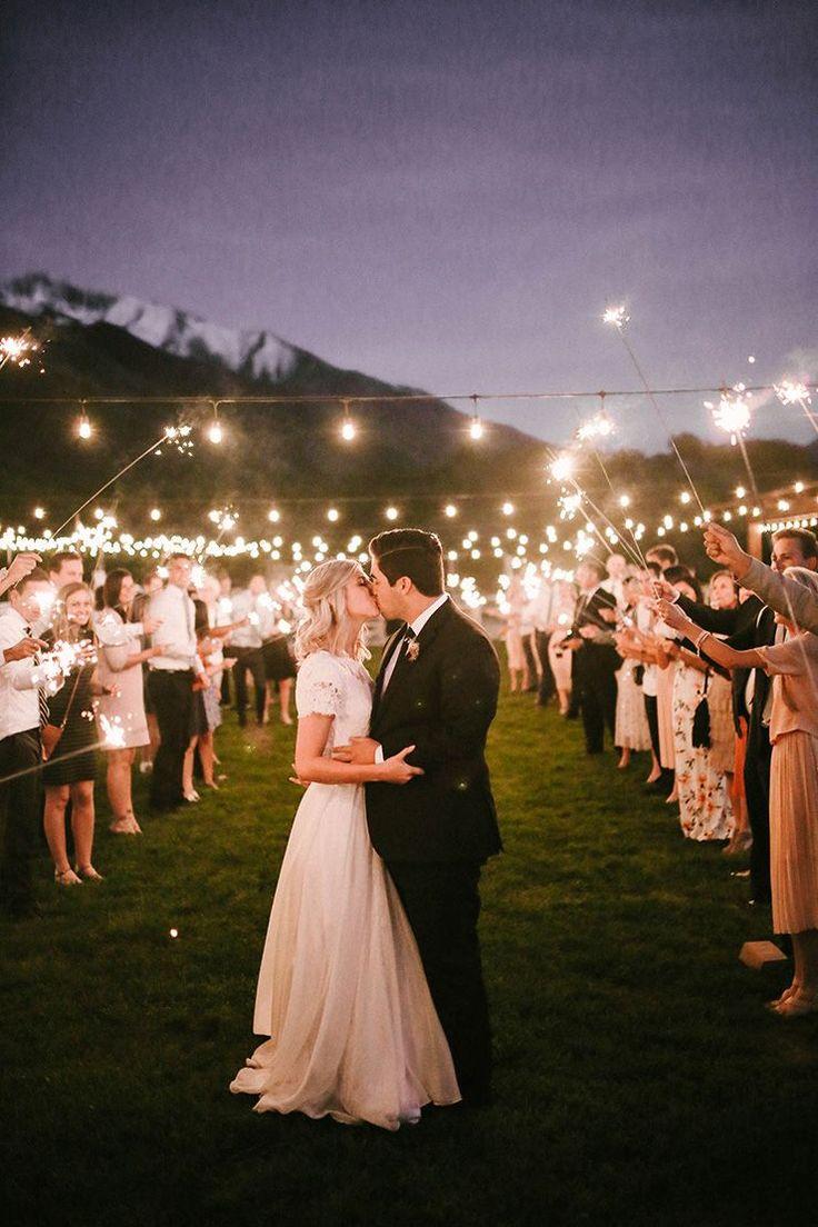 Romantic sparkler exit wedding photo   Mandi Nelson