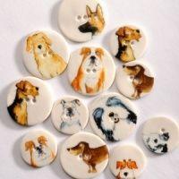 Assorted Dog Medium Circular Buttons