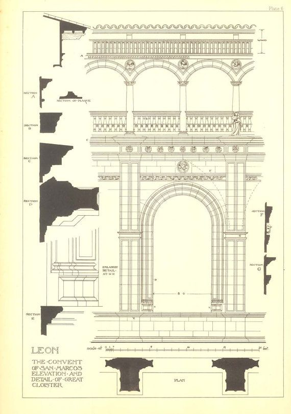 Architectural Print Leon The Convent of San Marcos, Elevation and Detail of the Great Cloister, Spanish Renaissance Andrew N Prentice