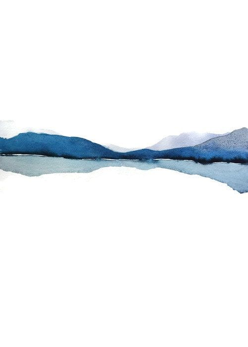Modern Landscape Print of Abstract Watercolor Painting. Grey, Blue, White, Black. NancyKnightArt.etsy.com 50x70 CM (19.7x27.6 inches) and 20x30