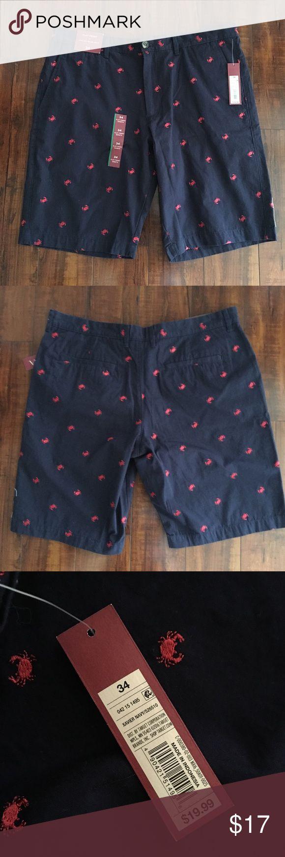NWT Merona Men's Khaki Shorts Blue, Red Crab Sz 34 NWT Men's Merona Khaki Shorts. Navy Blue with Red Crab Logo Pattern. 100% Cotton, Size 34. Excellent Condition, no flaws. MSRP $19.99 Merona Shorts Flat Front
