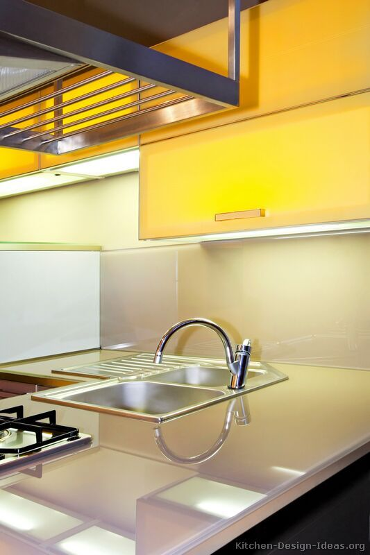 117 best yellow kitchens images on pinterest yellow for Modern yellow kitchen cabinets