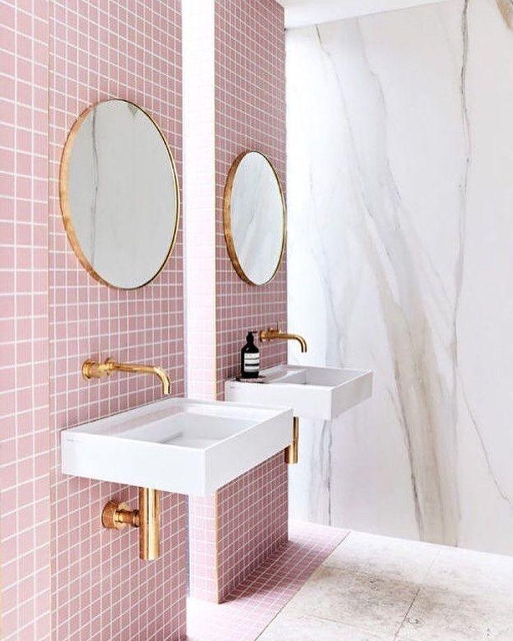 Pink Bathroom Aesthetic #homeinteriors #decor #gold