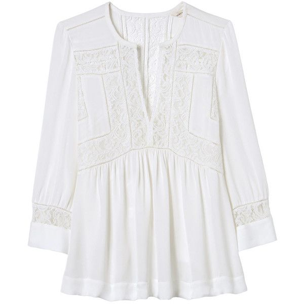 Rebecca Taylor Long Sleeve Silk & Lace Top (665 RON) ❤ liked on Polyvore featuring tops, blouses, snow, lace top, long sleeve blouse, dressy blouses, silk blouses and long sleeve lace blouse
