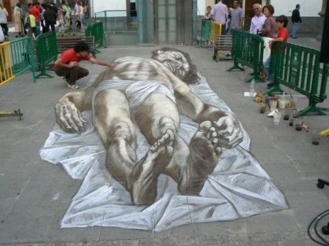 chalk sidewalk art  Crazy 3D Street Painting -