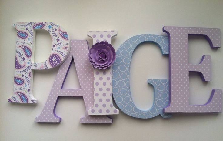 Wooden letters for nursery in purple and aqua Girls