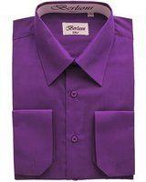 Elegant Men's Button Down Purple Dress Shirt