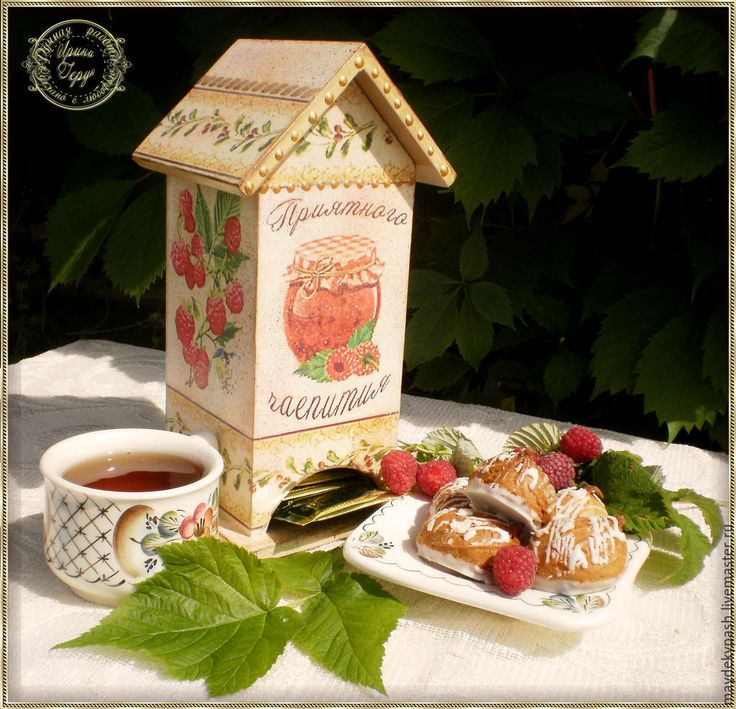"чайный домик ""Малиновое варенье"" - бежевый, Декупаж, чай, малина, чайный домик Tea houses and boxes handmade"