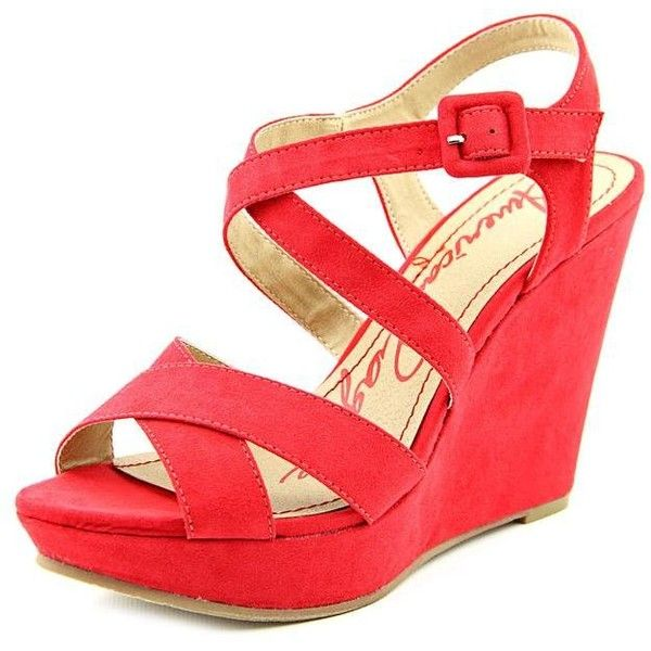 American Rag Rachey Women Wedges ($27) ❤ liked on Polyvore featuring shoes, red, red shoes, american rag cie, red wedge heel shoes, red wedge shoes and american rag cie shoes