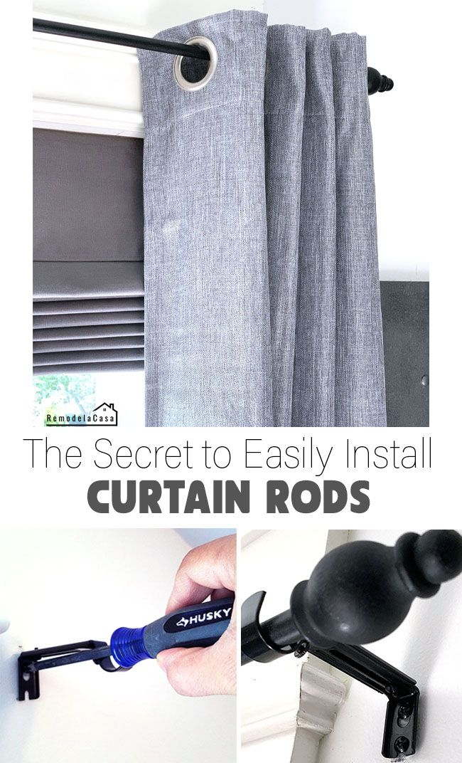 The Secret To Easily Install Curtain Rods With Images Curtain Installation Installing Curtain Rods Curtain Rods