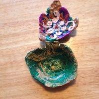 Flower and leaf trinket tray set