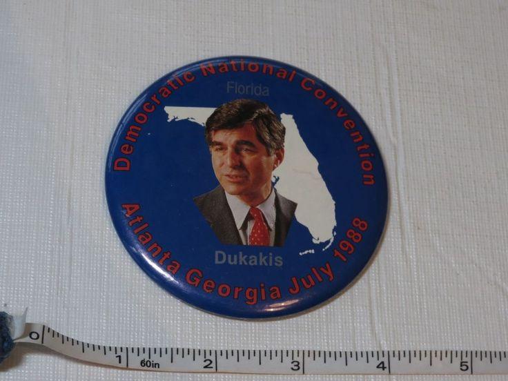 Democratic National convention Atlanta Georgia July 1988 Dukakis FL pin button