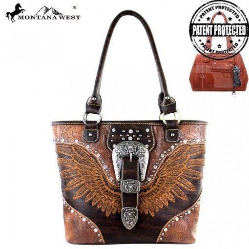Montana West Buckle Collection Concealed Handgun Tote - Brown #MontanaWestUSA #ShoulderBag