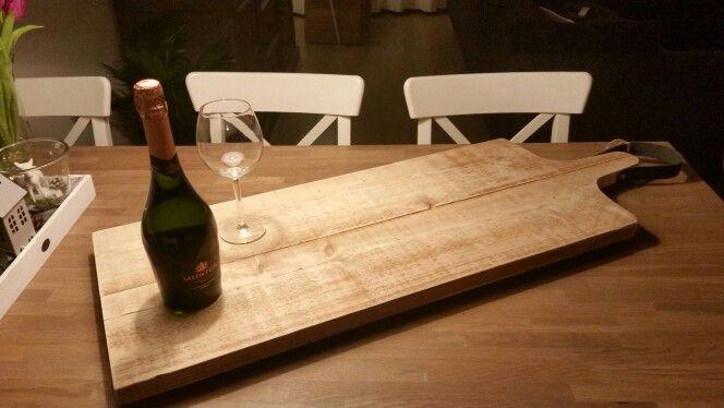 Mega snijplank - steigerhout en tuigleer