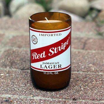 beer candle, homemade soy wax, Red Stripe, gift, decor, bar, restaurant, man cave Jamaican beer