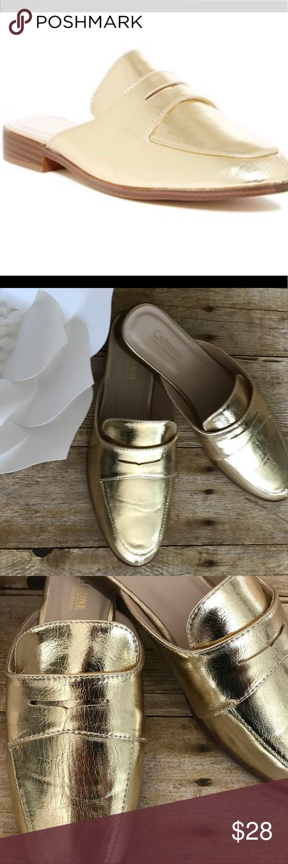 Catherine Malandrino Tuxedo mules 1 size left!!!! Catherine Malandrino Tuxedo Penny mules• crinkled gold• split moc-toe• banded vamp with penny slot•slip -on style • cushioned foot bed• low 7/8 in. Heel•Man-made materials• wear in the office or out of town• no trades• bundle for private discount Catherine Malandrino Shoes Mules & Clogs