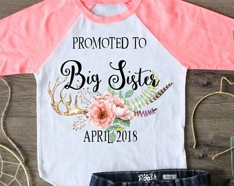 Promoted To Big Sister Shirt, Big Sister Raglan, Big Sisters Announcement, Big Sister Top, Navy Blue Raglan, Black Raglan, Peach Raglan