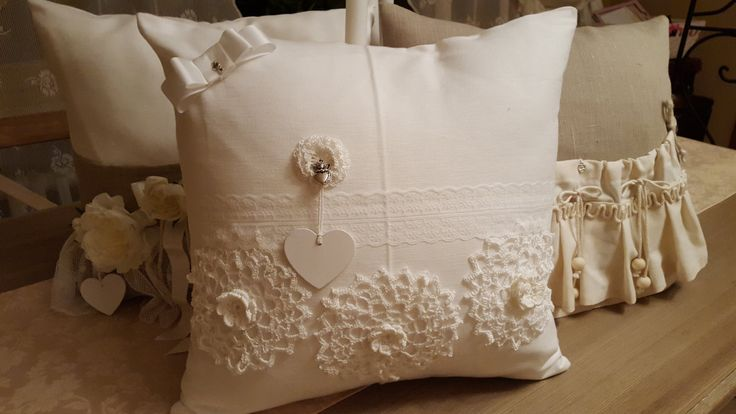 Decorative white cushion 40cm/40cm with crocheted flowers by WhispersofAngels17 on Etsy