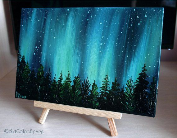 Small Galaxy painting Night sky Northern lights painting Landscape painting Aurora borealis Oil painting on canvas