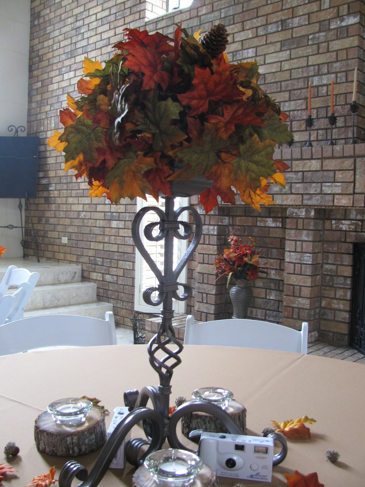 Centerpiece My mom and dad made. Momma did the flowers and daddy made the stand.