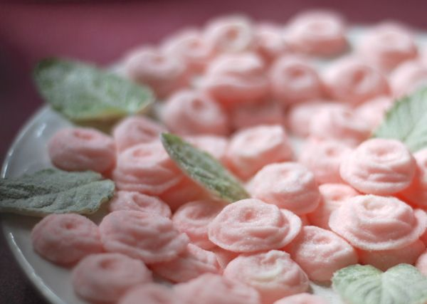 Cream Cheese Wedding Mints~ this recipe calls for only 5 ingredients and the mints go together quickly and easily. Add a drop of culinary rose water to the mix if you'd like to serve rose mints.