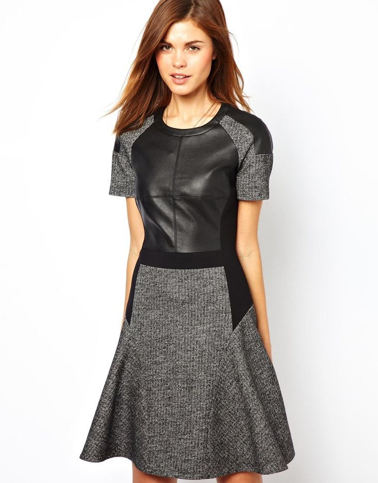 skater dress karen miller with faux leather panel