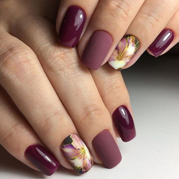 Purple Red Nails With Floral Pattern