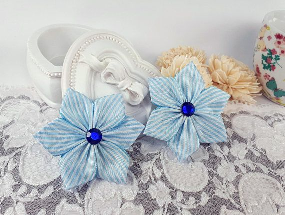 Blue fabric flowers ribbon flowers applique flowers blue by Rocreanique
