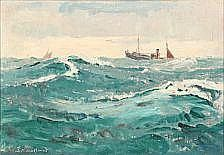 Sigurd Kielland-Brandt:  Seascape with a boat in high waves. Signed S. Kielland Brandt. 45 x 63 cm.