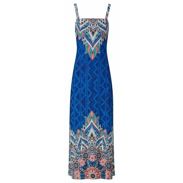 Joe Browns Mexicana Maxi Dress ❤ liked on Polyvore featuring dresses, lightweight summer dresses, aztec maxi dress, aztec-print dresses, blue maxi dress and blue color dress