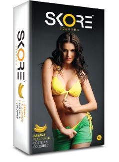 Skore Condoms from TTK, has variety of flavored condoms. Banana flavored condoms adds sweetness to your wild night. It also comes with unique texture and exiting colors. Buy Condoms online from Skore now by logging on to www dot skorecondoms dot com