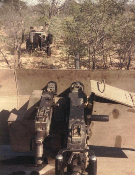 Koevoet Police with Casspir, Counter-Insurgency unit in Namibia 1980's.