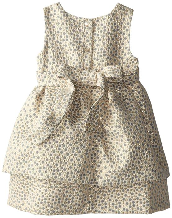 Pippa & Julie Little Girls' Brocade Party Dress, Gold, 3T