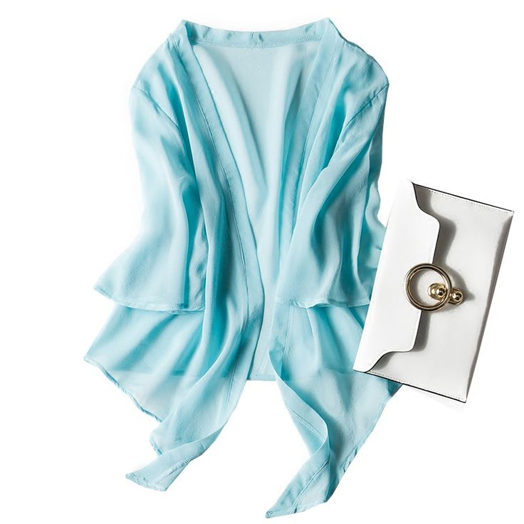 100% Pure Silk Women's Blouses Shirt Waistcoat Fashion Women Shawl Tops Half Sleeve Shirts Tops Female Summer Short Tops Woman